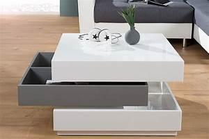 Couchtisch Weiß Grau : exklusiver design couchtisch multilevel wei grau hochglanz drehbar riess ~ Frokenaadalensverden.com Haus und Dekorationen