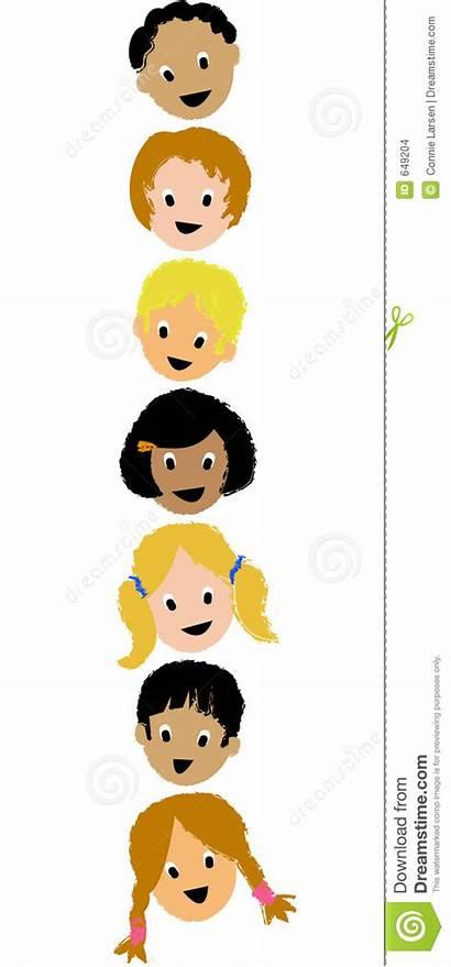 Vertical Faces Ai Children Seven Illustration