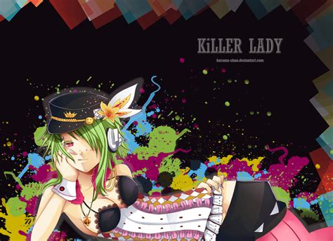 breasts cleavage erect nipples green hair gumi hat killer lady vocaloid kurama chan necklace