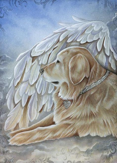 golden retriever dog angel art   vintage angel