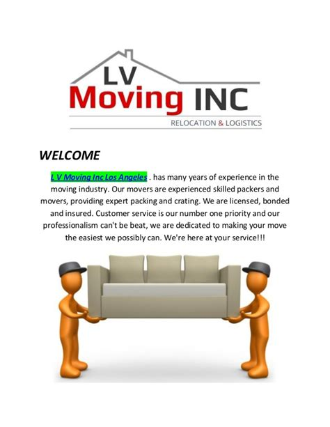 Marbro L Company Los Angeles by L V Moving Inc Los Angeles Moving Company In Los Angeles Ca