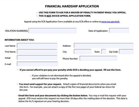 financial hardship letter templates