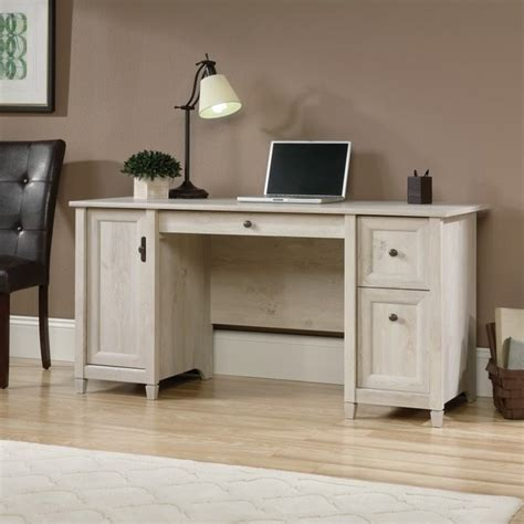 sauder edge water executive desk chalked chestnut computer desk in chalked chestnut 418793