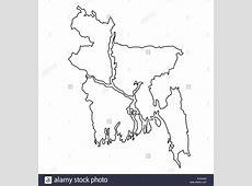 Outline, map of Bangladesh Stock Photo, Royalty Free Image