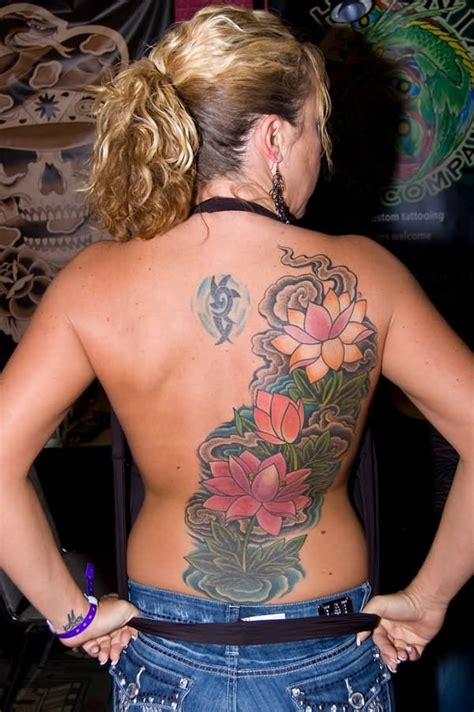 Awesome Lotus Flowers Tattoo On Girl Full Back