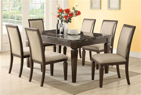 acme agatha pc black marble top rectangular dining room