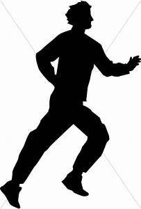 Running Man in Silhouette   Inspirational Clipart