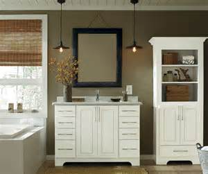white bathroom vanity and storage cabinet schrock