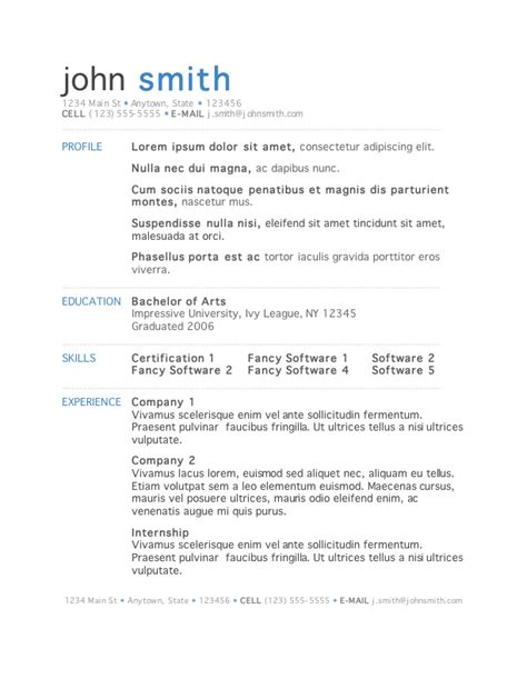 Best Resume Doc Template by 7 Free Resume Templates Primer
