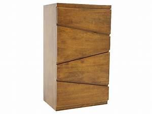 Commode En Bois Massif : commode moderne 4 tiroirs moka en bois de chataignier meubles bois massif ~ Teatrodelosmanantiales.com Idées de Décoration