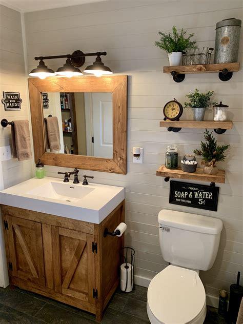 decor ideas for bathrooms rustic farmhouse bathroom custom made cabinet shelves