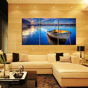 canvas prints home decor wall art painting blue sea boat With home wall art