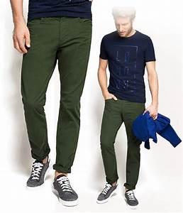 Pantalon Décontracté Homme : pantalon toile homme en coton vert kaki esprit coup de coeur mode ~ Carolinahurricanesstore.com Idées de Décoration
