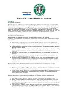 resume for starbucks assistant manager store assistant duties