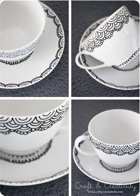 diy hand painted cup saucer   porcelain