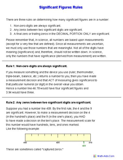 significant figures handout worksheets maths and science pinterest worksheets chemistry