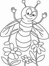 Bee Honey Coloring Sky Flowers Coloringsky Found Three Flower sketch template