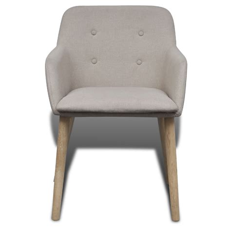 4 fabric dining chairs with armrest beige vidaxl