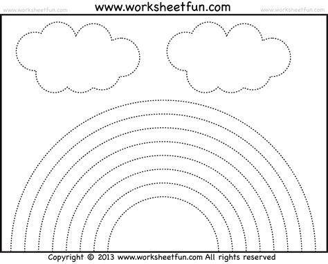 rainbow tracing and coloring 4 preschool worksheets