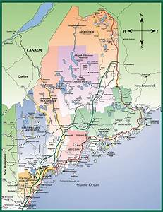 Map Of Maine Usa New Hampshire And New Brunswick Canada Cities