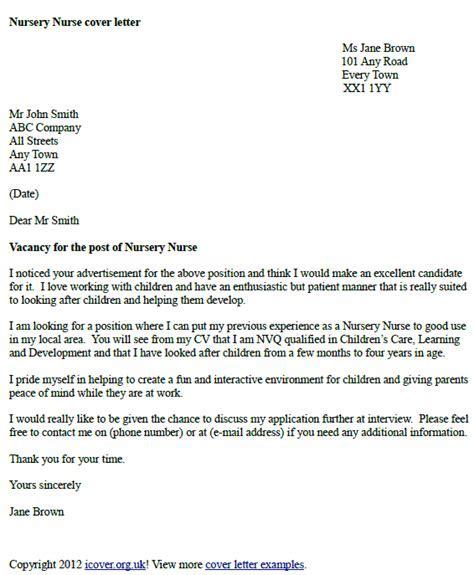 Nursery Nurse Cover Letter Example Icoverorguk