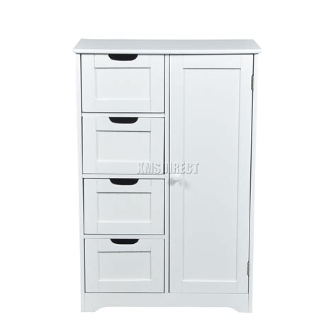 Wooden Bathroom Storage Cabinets by Foxhunter White Wooden 4 Drawer Bathroom Storage Cupboard