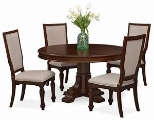 Vienna round dining table and 4 upholstered side chairs for Breakfast table chairs round