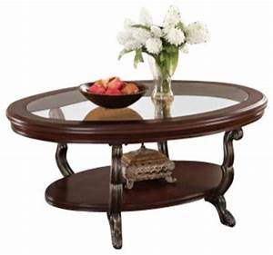 Bavol cherry finish wood oval shaped coffee table with for Oval cherry wood coffee table