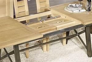 Table rectangulaire Loann en Chêne et Fer 191x101 avec 2 allonges de 45 cm , meuble en Chêne massif