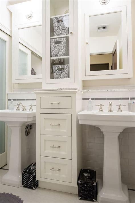 bathroom sink ideas pedestal sinks with storage drawers in between
