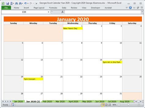 calendar year  excel spreadsheet printable