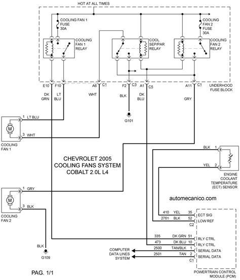 chevrolet cooling fans system diagramas ventiladores abanicos motores 2005 mecanica