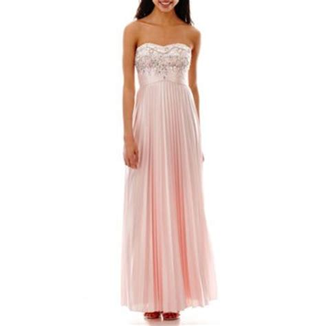 my michelle 174 strapless embellished bodice pleated long