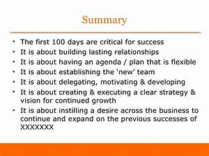first 100 days as sales director 39sample39 With first 100 days plan template