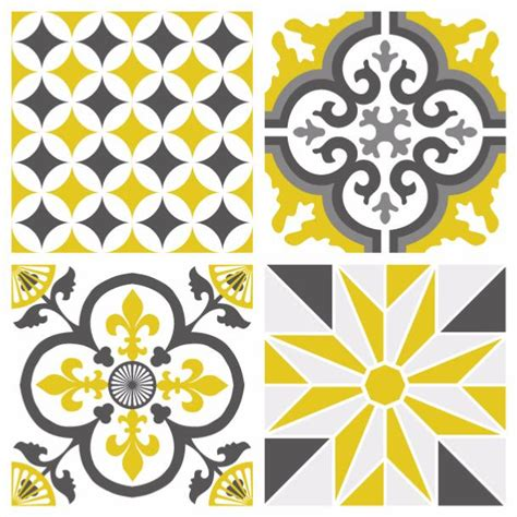 stickers pour carrelage mural cuisine sticker carreaux de ciment ginette jaune moutarde