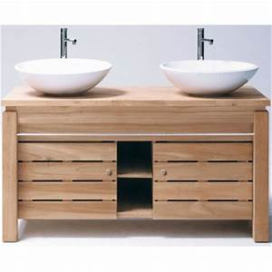 awesome meuble double vasque industriel images With meuble salle de bain bois 2 vasques