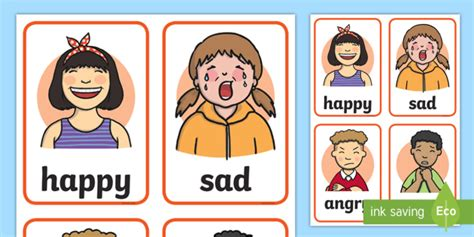 feelings cards words  faces early years