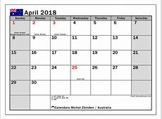 Calendar April 2018, Australia Michel Zbinden EN