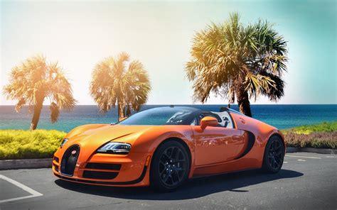 Car Wallpaper Orang by Bugatti Veyron Hypercar Orange Color Wallpapers Wide