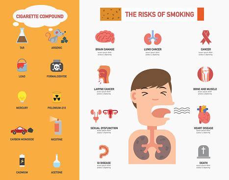 risk  smoking infographicsillustration stock