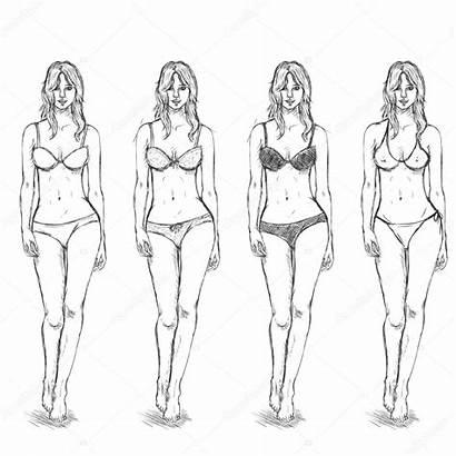 Female Sketch Models Illustration Poses Vector Draw