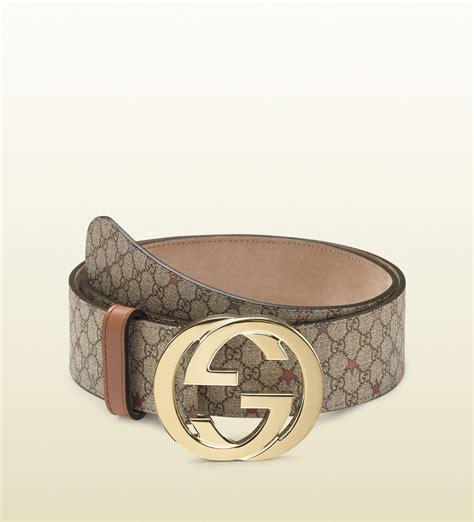 Lyst - Gucci Supreme Canvas Belt with Interlocking G ...