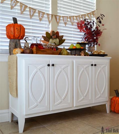 kitchen sideboard cabinet diy buffet sideboard with circle trim doors tool belt 2544