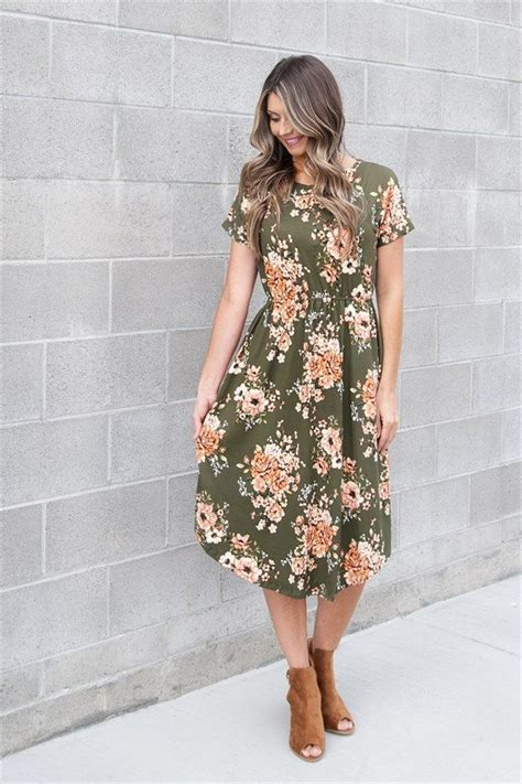 Fall Floral Dress With Pockets Womens Clothing Fall