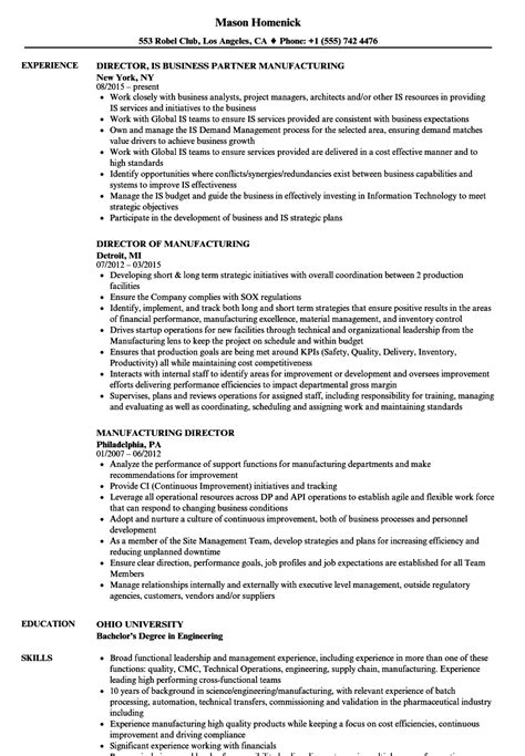 Manufacturing Resume by Manufacturing Director Resume Sles Velvet
