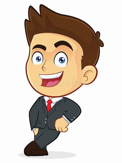 Clipart Leaning Businessman Block Empty Cartoon Male