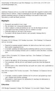 financial advisor resume exle professional financial advisor assistant templates to showcase your talent myperfectresume