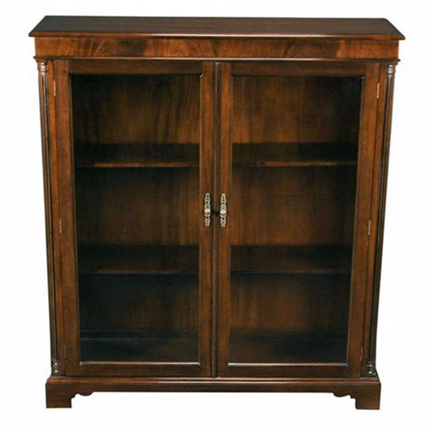 Bookcase Glass Door by Solid Mahogany Glass Door Closed Bookcase With Adjustable