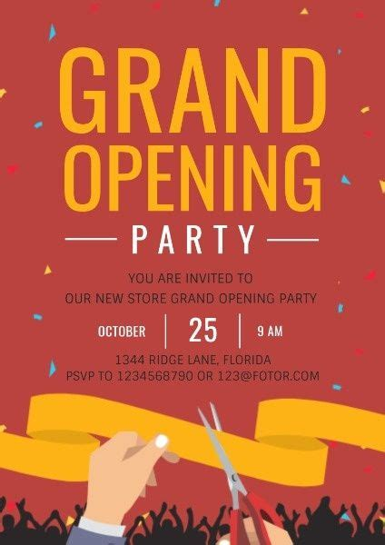 design  grand opening party poster click