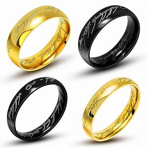 one ring of power gold black the lord of rings 316l With titanium lord of the rings wedding band